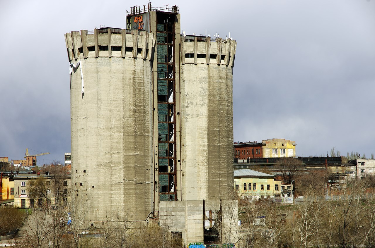 Former elevator towers