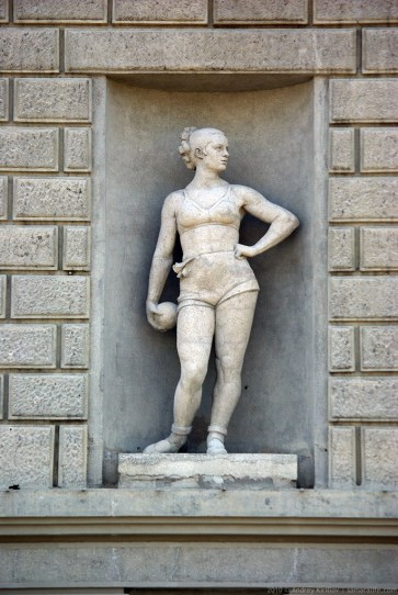 Woman sculpture at Kuibyshev Palace of Culture facade, Samara